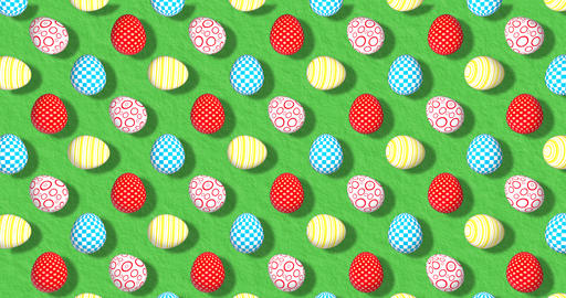Colorful Background with Easter Eggs on grass. Festive backdrop for instagram Animation