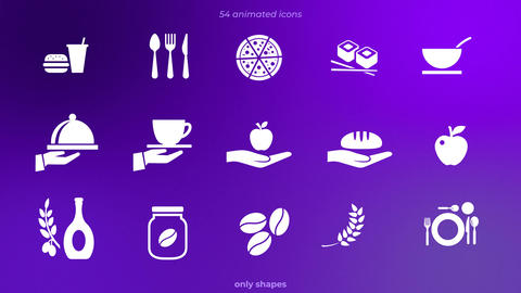 69 animated icons only shapes After Effects Template