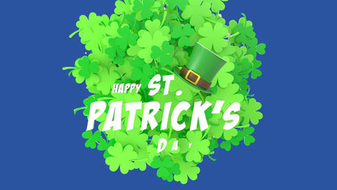 St. Patrick's day animated greeting card with inscriptions, clover and hat Animation