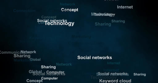 Remote work concept animation with word tag cloud on blue background. Loop 4k Animation