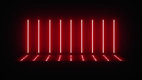Neon vertical lamps alternately turn on, glow and turn off in the dark. Lamps Live Action