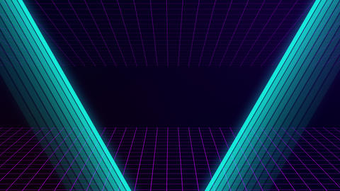 VHS retro animation with appearing neon triangle and text grade e. The grid Live Action