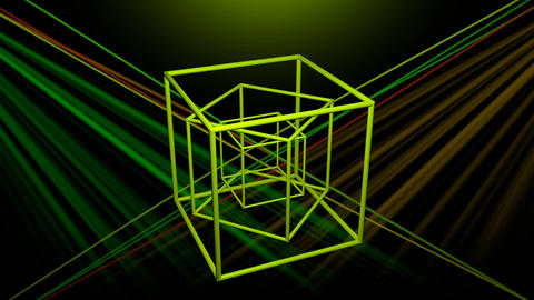 3d laser show with rotating wireframe cube, color changing object with colorful Animation