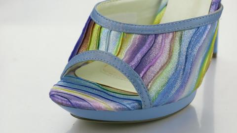 Close-up, of women shoes sock. Shoe elements. Rotation Live Action