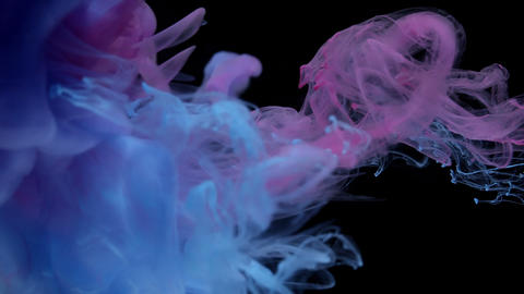 Flowing blue and pink ink colors underwater on black background Live Action