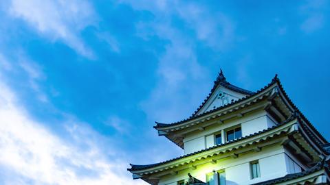 4K Japanese Castle Twilight Timelapse Old Castle Sunset dusk Live Action