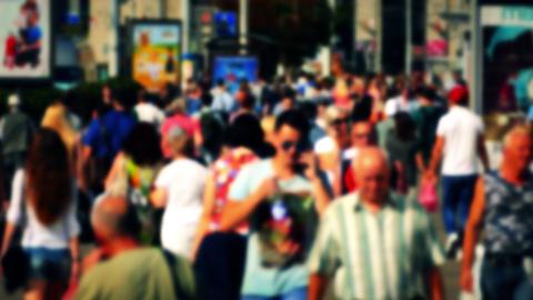 1080p Crowd of People / Commuters Walking / Busy Street Footage