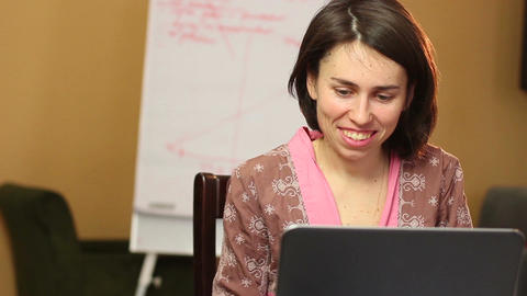 Smiling laughing woman flirts chatting over internet relations Footage