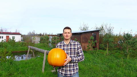 Cheerful countryman take and carry large orange pumpkin, walk towards camera Footage