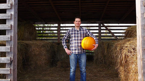 Pleased farmer stand in hayloft with orange pumpkin, pick up and go away Footage