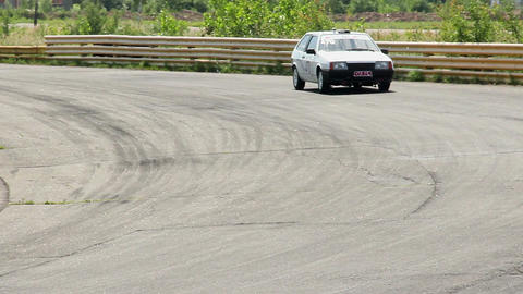 Driver cornering drifting on wild speed, striving for leadership Footage