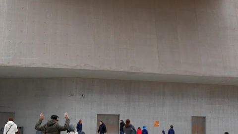 Children draw in front of MAXXI. Rome, Italy Footage