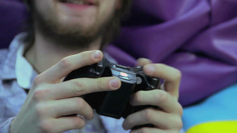 Man woman playing video game, game addiction, having fun Live Action