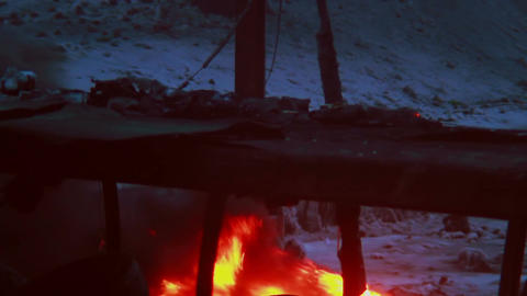 Open fire burning outdoors in winter, rubber tires under fires Footage
