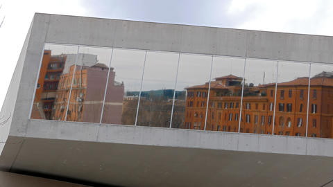 Windows of the National Museum of Art of the XXI century (MAXXI). Rome, Italy Footage