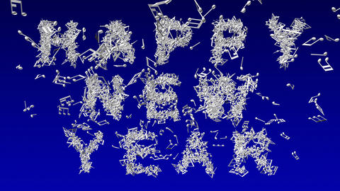 Happy new year made from musical notes Animation