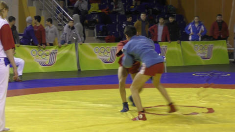 Orenburg, Russia - 13 March 2016: Boys competitions Sambo Stock Video Footage