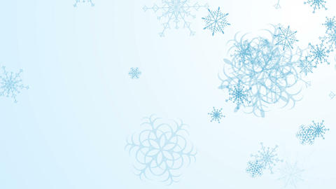 Abstract blue falling snowflakes video animation Animation