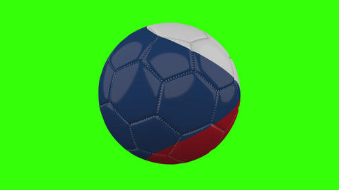 Czech flag on ball rotates on transparent green alpha background, loop Animation