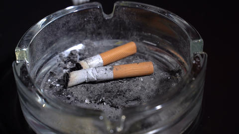 Extinguish a cigarette in an ashtray Live Action