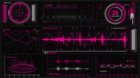 Purple Red Voice Recording & Audio Analysis HUD Interface Element Animation