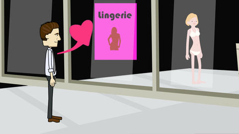 Cartoon Man's Heart Beats Increase, Looking into Lingerie Ship: Loop Animation