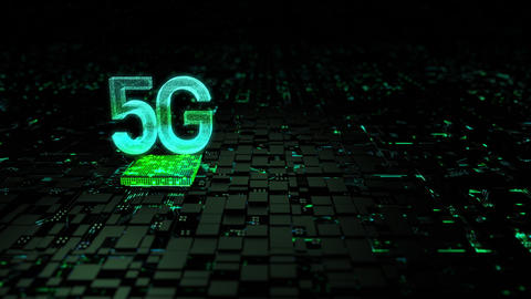 3D rendering 5G text with lighting and glow effect for digital and technology concept, with GIF