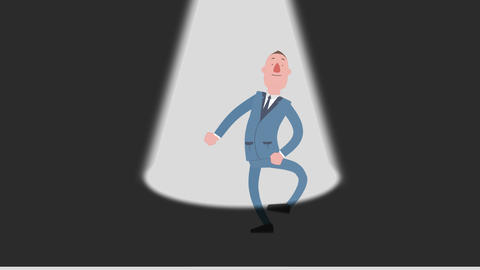 Cartoon Man Seeking Spotlight #2 (White Screen) Animation