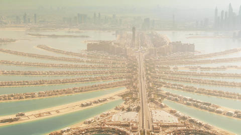 Aerial shot of the famous Palm Jumeirah artificial island. Dubai, UAE Live Action