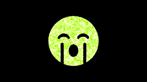 Symbol sad cry shimmers in three colors: Purple, Green, Pink. In - Out loop. Alpha channel Animation