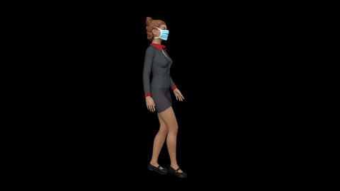 3D woman goes in a medical mask, transparent background, animation Live Action