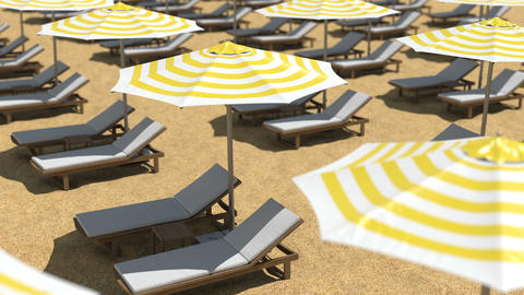 Empty wooden beach chairs and umbrellas on sand Animation