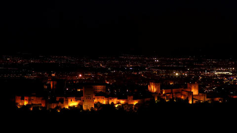 4k Amazing Alhambra At Dusk View. Palace and fortness complex. Granada, Spain Live Action