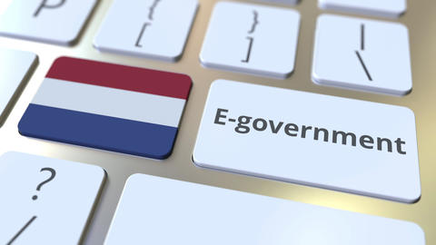 E-government or Electronic Government text and flag of the Netherlands on the Live Action