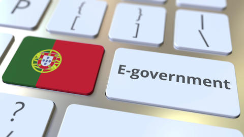 E-government or Electronic Government text and flag of Portugal on the keyboard Live Action