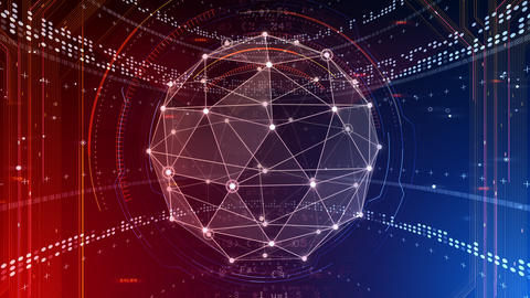 AI digital data network computer technology 3D illustration background 5 02 red Animation