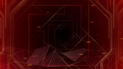 AI digital data network computer technology 3D illustration background 5 08 red Animation