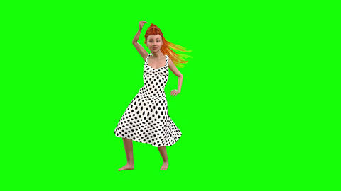 557 4k 3d animated avatar small girl in nice dress belly dances Animation