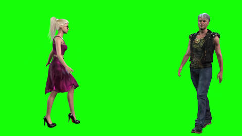 562 4k 3d animated avatars beutiful woman and man greeting one another with curtsy Animation