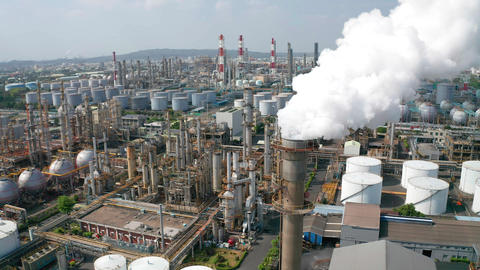 Aerial view oil and gas petrochemical industrial and Refinery factory Live Action