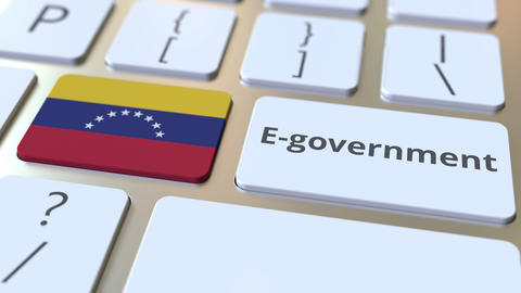 E-government or Electronic Government text and flag of Venezuela on the keyboard Live Action