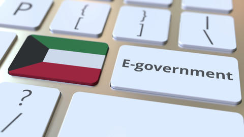E-government or Electronic Government text and flag of Kuwait on the keyboard Live Action