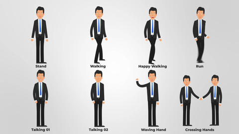 Businessman Character Animation Pack After Effects Template