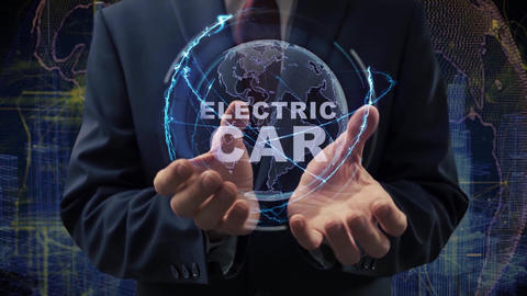 Male hands activate hologram electric car Live Action