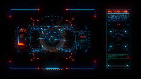 Blue Spaceship Weapon and Radar HUD Display Graphic Element Animation