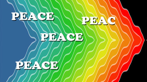 Peace background, white animated words Peace appearing on wavy rainbow Animation