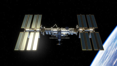 International Space Station Rotates Its Solar Panels GIF