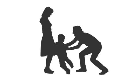 Silhouette of a little boy playing with his parents, alpha channel Footage