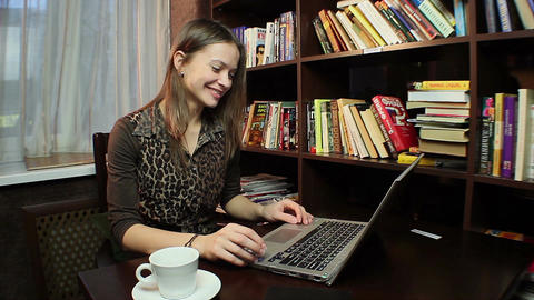 Beautiful woman chatting in skype, business communication Footage