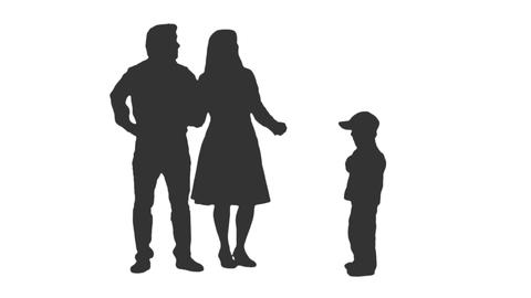 Silhouette of a little boy playing ball with his parents, alpha channel Footage